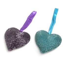 Home Decor - Set of 2 - Purple and Turquoise Colour Beaded Hanging Hearts (Size 10x10 Cm)