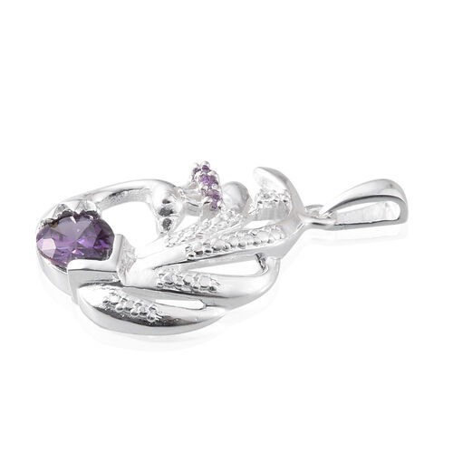 ELANZA AAA Simulated Amethyst (Pear) Pendant in Sterling Silver