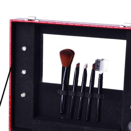 Red Colour Croc Embossed Vanity Box with 5 Pcs Makeup Brushes and 6 LED Lights and Mirror Inside (Size 28.5x23.8x11 Cm)