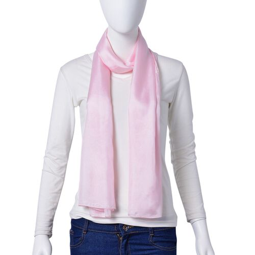 100% Mulberry Silk Light Pink Colour Scarf (Size 175X90 Cm)