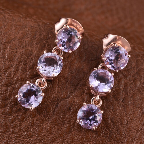 Rose De France Amethyst (Rnd) Earrings (with Push Back) in Rose Gold Overlay Sterling Silver 2.500 Ct.