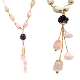 Designer Inspired Rose Quartz (Fancy) Necklace (Size 30) in Yellow Gold Bond  125.000 Ct.