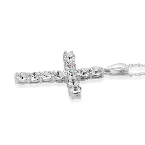 MADE WITH SWAROVSKI ELEMENTS Swarovski White Austrian Crystal Cross Pendant with Chain in Platinum Overlay Sterling Silver