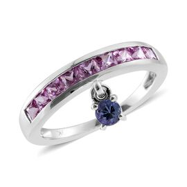 9K White Gold 1.25 Carat Pink Sapphire Princess and Tanzanite Charm Ring.