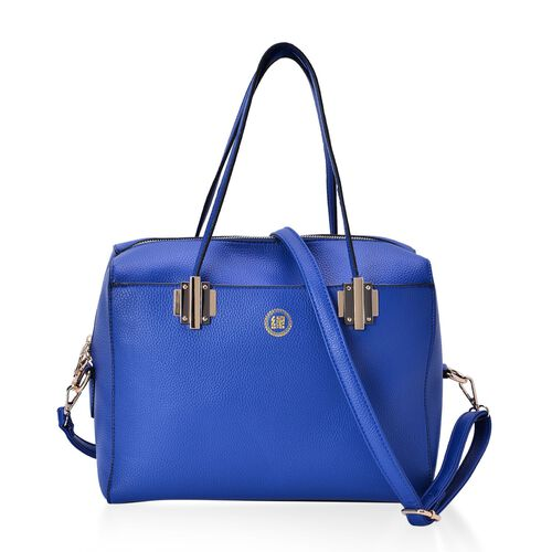 YUAN COLLECTION Blue Colour Tote Bag with Adjustable and Removable Shoulder Strap (Size 31x29x13 Cm)