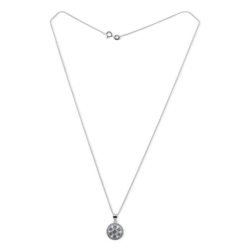JCK Vegas Collection ELANZA AAA Simulated Diamond (Rnd) Pendant With Chain in Rhodium Plated Sterling Silver