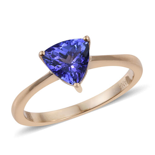 ILIANA 18K Y Gold AAA Tanzanite (Trl) Solitaire Ring 1.500 Ct.