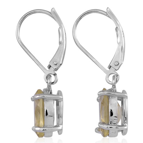 Lemon Quartz (Ovl) Lever Back Earrings in Rhodium Plated Sterling Silver 4.500 Ct.