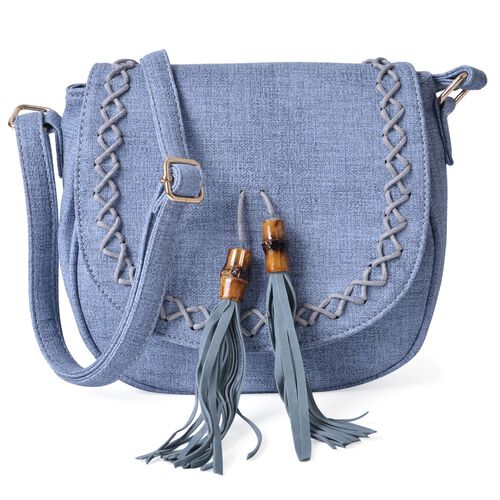 Light Blue Colour Crossbody Bag with Bamboo Tassels and Adjustable Shoulder Strap (Size 25x20x9 Cm)