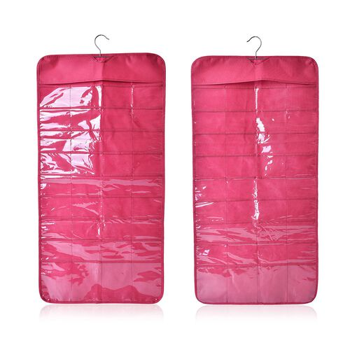 Set of 2 - Raspberry Colour Double Sided Hanging Jewellery Organizer (Size 85X23 Cm)