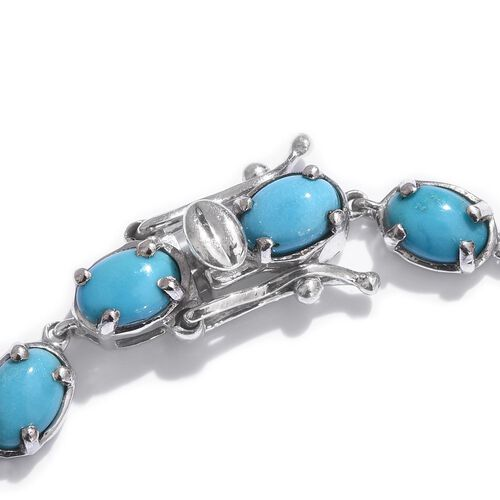 Arizona Sleeping Beauty Turquoise (Ovl) Bracelet (Size 7.5) in Platinum Overlay Sterling Silver 9.250 Ct.