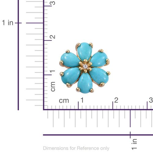 Sleeping Beauty Turquoise 4.50 Ct Gold Overlay Silver Floral Stud Earrings