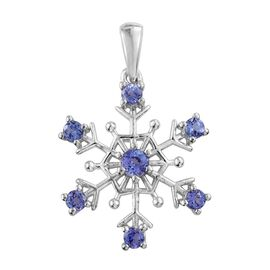 Tanzanite Snowflake Pendant in Platinum Overlay Sterling Silver