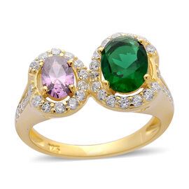 AAA Simulated Amethyst, Simulated Emerald and Simulated White Diamond Ring in Yellow Gold Overlay Sterling Silver 2.800 Ct.