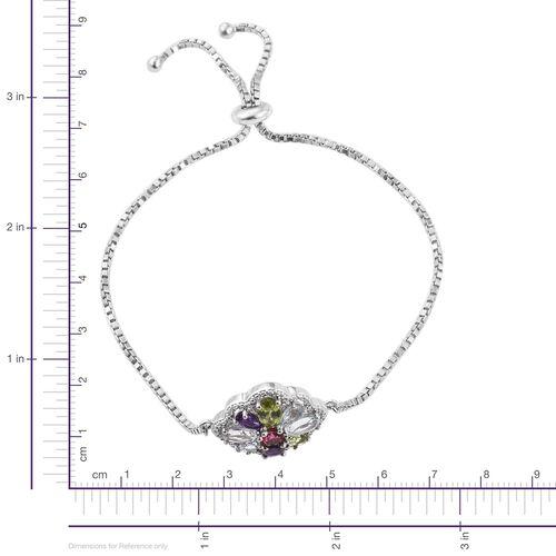 Hebei Peridot (Ovl), Sky Blue Topaz, Amethyst, Espirito Santo Aquamarine, Rhodolite Garnet and Sky Blue Topaz Bracelet (Size 6.5 to 8.5) in Platinum Overlay Sterling Silver 2.810 Ct.