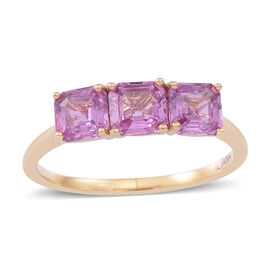 ILIANA 18K Y Gold Pink Sapphire (Asscher Cut) Trilogy Ring 2.250 Ct.
