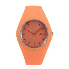 STRADA Japanese Movement Orange Colour Dial Watch with Stainless Steel Back and Orange Silicone Strap