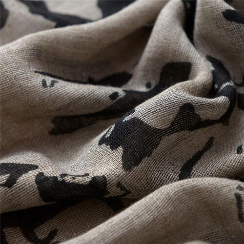 Nivienne Merino Wool (50% Wool and 50% Modal) Black and Light Brown Colour Woven Scarf (Size 175x75 Cm)