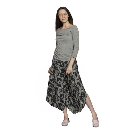 Black and Grey Colour Ethnic Paisley Pattern Palazzo Trouser (Medium Size)