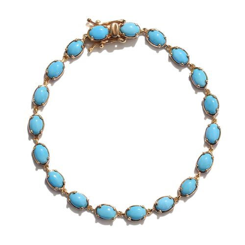 Arizona Sleeping Beauty Turquoise (Ovl) Bracelet (Size 7) in 14K Gold Overlay Sterling Silver 9.250 Ct.