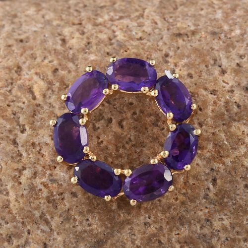 Amethyst (Ovl) Circle Pendant in 14K Gold Overlay Sterling Silver 2.750 Ct.