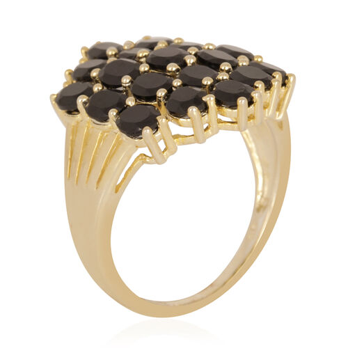 Thai Black Spinel (8.50 Ct) 14K Gold Overlay Sterling Silver Ring  8.500  Ct.