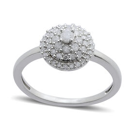 9K W Gold SGL Certified Diamond (Rnd 0.08 Ct) (I3/ G-H) Cluster Dome Ring 0.500 Ct.