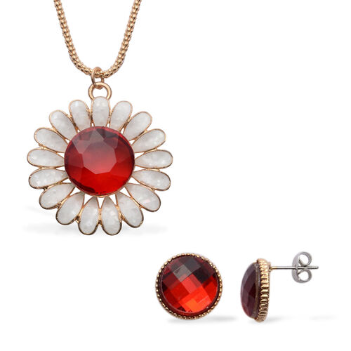 Red Glass and White Shell Necklace (Size 28 with Extension) and Stud Earrings (With Push Back) in Gold Tone