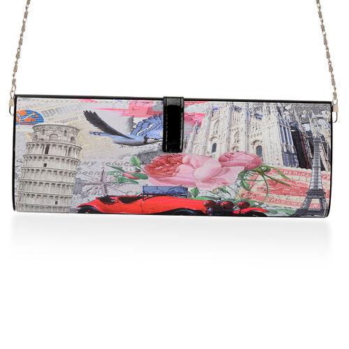 Printed Black Hand Bag with Removable Chain Strap (Size 30x5x12 Cm)