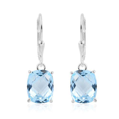 Sky Blue Topaz (Cush) Lever Back Earrings in Sterling Silver 7.250 Ct.