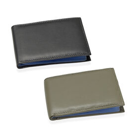 Set of 2 - Genuine Leather Olive Green and Black Colour RFID Bi-Fold Wallet and Card Holder with 24 Card Slots (Can hold Up to 96 Cards) (Size 13.5x10.5 Cm)