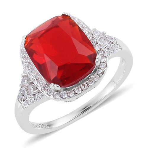 Simulated Ruby and Simulated White Diamond Ring in Rhodium Plated Sterling Silver