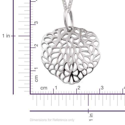 Platinum Overlay Sterling Silver Sea Fan Coral Pendant With Chain, Silver wt 3.97 Gms.