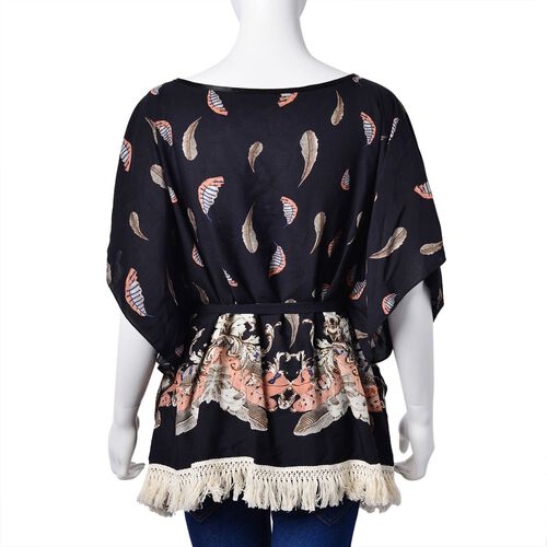 Black, White and Multi Colour Leaves Pattern Apparel with Adjustable Waistband (Size 70X60 Cm)