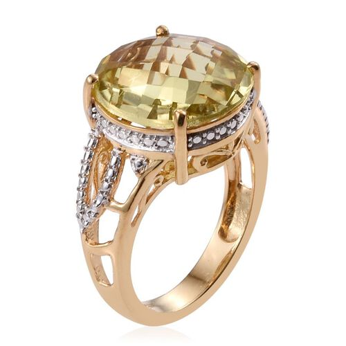 Natural Ouro Verde Quartz (Rnd) Solitaire Ring in 14K Gold Overlay Sterling Silver 7.500 Ct.