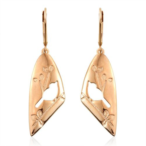 14K Gold Overlay Sterling Silver Birds Lever Back Earrings, Silver wt  4.30 Gms.