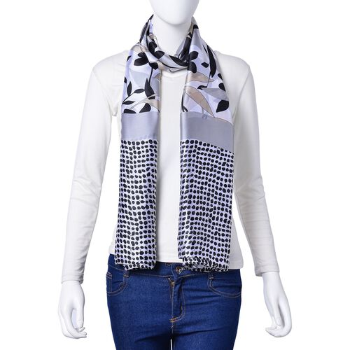 Grey, Black and Beige Colour Flowers, Leaves and Dots Pattern Scarf (Size 180X90 Cm)