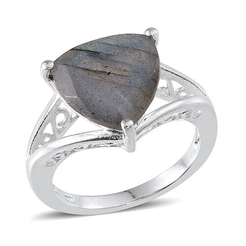 Labradorite (Trl) Solitaire Ring in Sterling Silver 4.750 Ct.