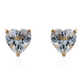 Espirito Santo Aquamarine 1.25 ct. Heart Silver Stud Earrings with Push Back in Gold Overlay