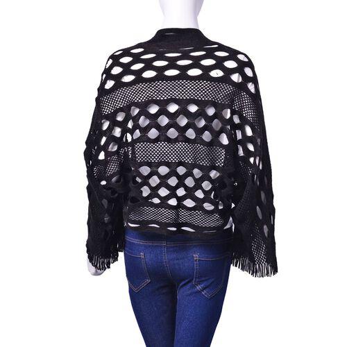 Black Colour Poncho (Size 140x25 Cm)