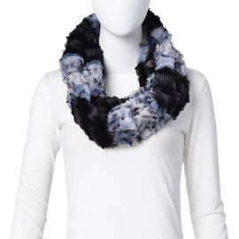 Black and Blue Colour Leopard Pattern Infinity Scarf (Size 80x20 Cm)
