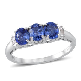 9K White Gold 1.50 Carat AA Ceylon Blue Sapphire And Diamond Ring