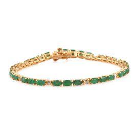 Kagem Zambian Emerald (Ovl), Diamond Bracelet (Size 7.5) in 14K Gold Overlay Sterling Silver 7.030 Ct.