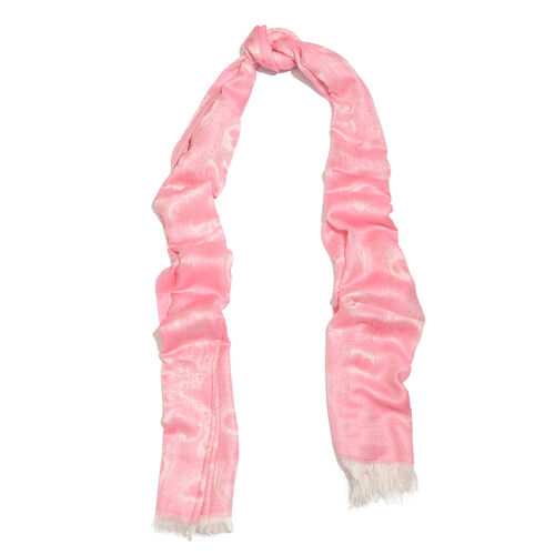 Peacock Feather Pattern Fuchsia Rose Colour Reversible Scarf (Size 180x70 Cm)