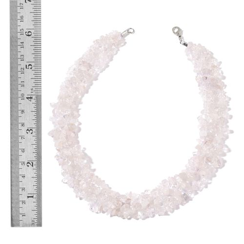 White Quartz Necklace (Size 18) and Stretchable Bracelet (Size 7.50) in Rhodium Plated Sterling Silver 657.200 Ct.