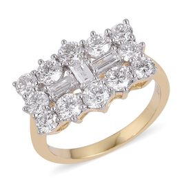 ILIANA 18K Y Gold IGI Certified Diamond (Bgt) (SI/G-H) Boat Cluster Ring 2.000 Ct.