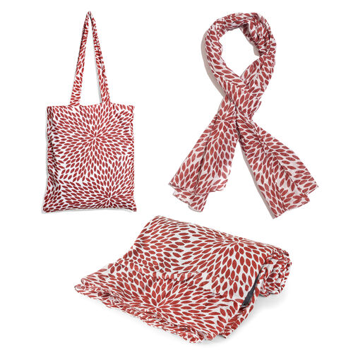 100% Cotton Maroon Colour Leaves Printed White Colour Towel (Size 160x90 Cm), Pareo (Size 160x50 Cm) and Bag (Size 35x33 Cm)