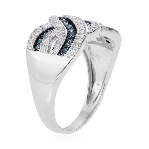 Blue and White Diamond (Rnd) Sea Wave Ring in Rhodium Plated Sterling Silver 0.500 Ct.