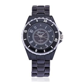 Diamond studded GENOA Black Ceramic Japenese Movement Watch in Black MOP Dial Water Resistant in Silver Tone with Stainless Steel Back