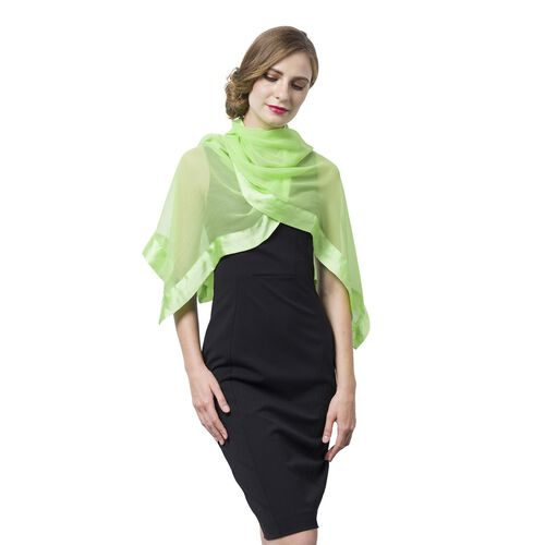 100% Mulberry Silk Green Colour Scarf with Satin Border (Size 160X60 Cm)